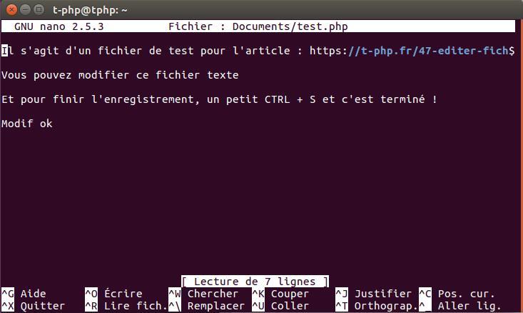 Editier Fichier Nano Ubuntu