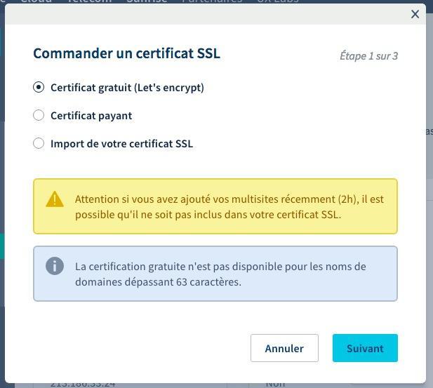 Commander Certificat SSL OVH Gratuit