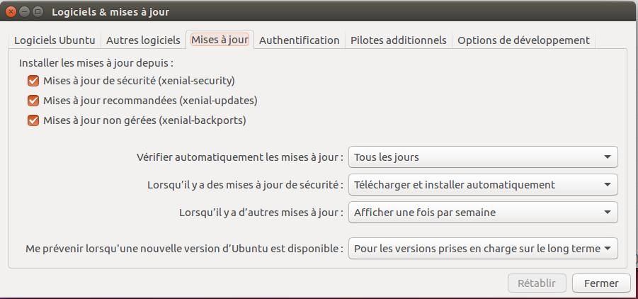Mise à jour Ubuntu : Configuration