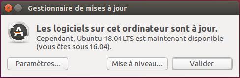Mise à niveau Ubuntu 18.04 LTS