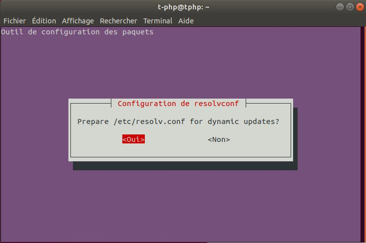 Configuration Paquet Internet Ubuntu