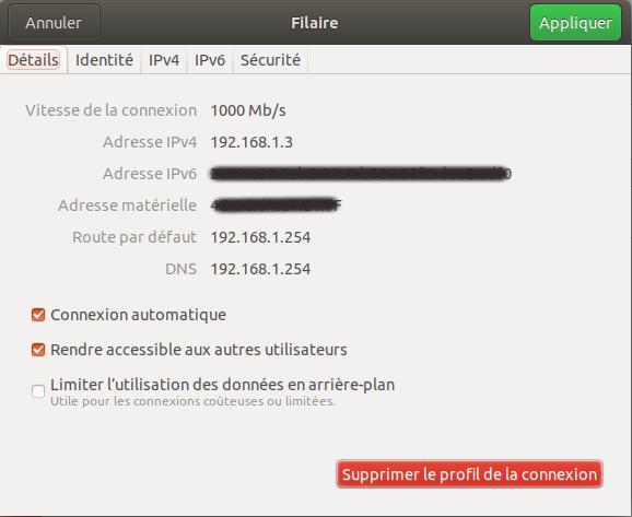 Connexion Filaire Réseau Ubuntu