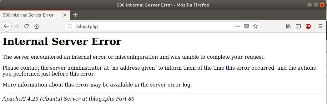 Internal server Error sur un serveur Ubuntu