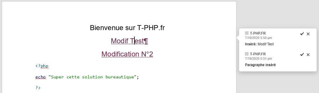 Suivi Modification OnlyOffice