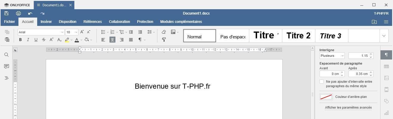 OnlyOffice : Nouveau Document