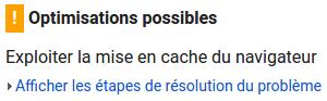 Cache Navigateur Google PageSpeed Insights