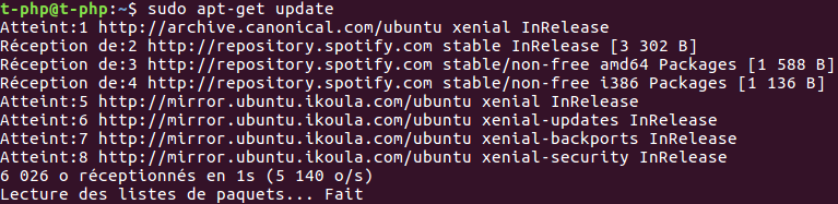 Mettre à jour Spotify sous Ubuntu 16.04