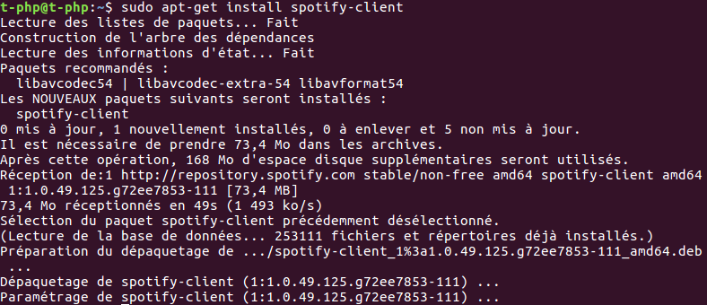 Installer Spotify sous Ubuntu 16.04 avec la commande apt-get install