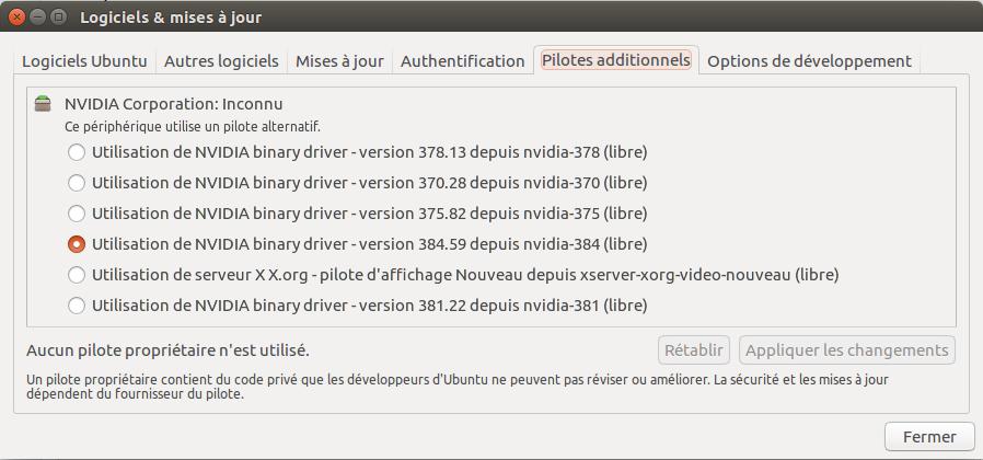 Choisir Driver Nvidia sur Ubuntu 16.04