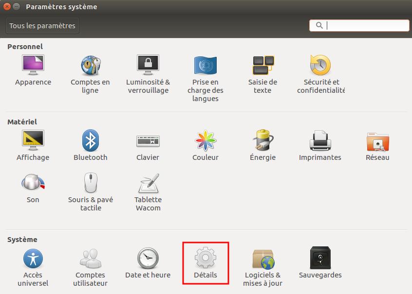 Paramètres système Linux Ubuntu 16.04