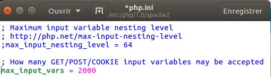 Modifier PHP.INI Ubuntu avec Gedit
