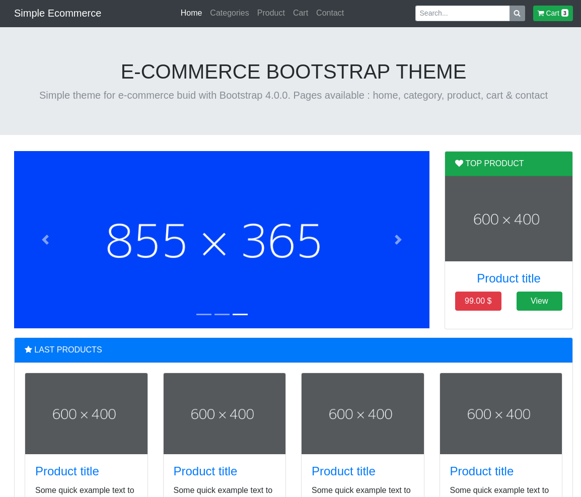 Page d'accueil Theme Ecommerce Bootstrap 4